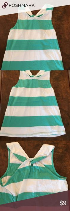 XL Gapkids Tank Top This is a cotton teal and white striped tank top with crisscross back by GapKids. Size XL (12) GapKids Shirts & Tops Tank Tops