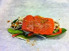 Asian Salmon en Papillote - citrusy goodness with bok choy, red bell ...