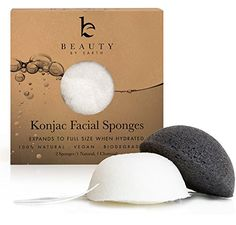 Konjac Sponges  Beauty by Earth Konjac Facial Sponge  2 Pack  Bamboo Charcoal Black  Natural White for Cleansing Sensitive to Oily  Acne Prone Skin  Gentle Natural Sponge to Scrub and Exfoliate  Best Biodegradable Skincare Cleanser *** You can get more details by clicking on the image.