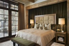 Love the draped wall behind the headboard.