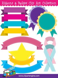 The royalty free vector graphics included are four different styles of ribbons, a top arched ribbon, a bottom arched ribbon, a star with a ribbon, purple and green ribbon badges, and blue and pink ribbons.