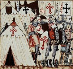 knights in what appears to be 12th-13th century - look at the shields