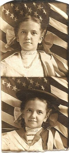 Patriotic vintage picture - note the number of stars on the flag.