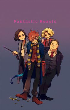 Fantastic Beasts and Where to Find Them - Tina Goldstein, Newt Scamander, Queenie Goldstein and Jacob Kowalski Harry Potter Universe, Saga Harry Potter, Mundo Harry Potter, Harry Potter Anime, Harry Potter Love, Harry Potter World, Harry Potter Memes, Hogwarts, Fans D'harry Potter