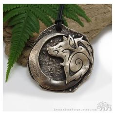 Large Tribal Wolf Necklace, Crescent Moon Pendant One of a Kind... ❤ liked on Polyvore featuring jewelry, necklaces, bronze necklace, yellow gold pendant, tribal pendant, tribal necklace and bronze pendant