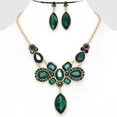 Chunky Bib Green Crystal Gold Chain Necklace Earring Set Fashion Costume Jewelry #Unbranded