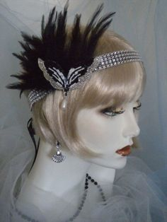 1920s headpiece, Flapper Headband, Gatsby, Silver, Black, Feathers, White #338