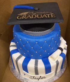 MoniCakes: Blue & Silver Graduation Hat cake Graduation Cupcakes, Graduation Decorations, Graduation Party Decor, Grad Parties, Graduation Ideas, Bachelor Cake, Foto Pastel, Custom Cupcakes, Custom Cookies