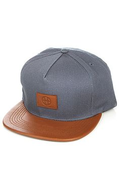 The Leather Circle H Snapback in Navy by HUF
