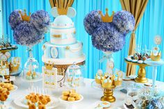 Royal Mickey Birthday Party. By incorporating more light blues and gold into the birthday party, a rich color palette was born!