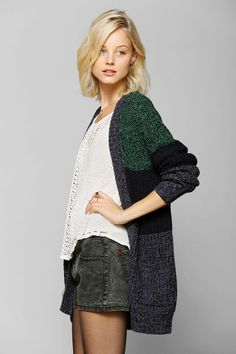 BDG Stripe Open-Front Cardigan