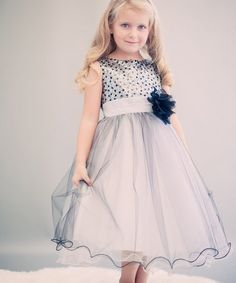 Silver & Black Sequin-Overlay Dress - Toddler & Girls