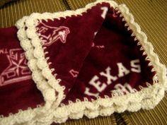 Texas A M University College Fleece Baby Blanket with Crochet Ruffle Baby Girl | eBay