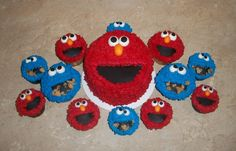 Elmo And Cookie Monster Cake And Cupcakes Elmo Birthday, Birthday Cake, Birthday Ideas, More Cupcakes, Cupcake Cakes, Elmo Cake, Elmo And Cookie Monster, Cute Cakes, Cake Decorating