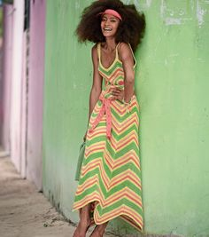 Crochetemoda Blog: Vestido de Crochet Colorido