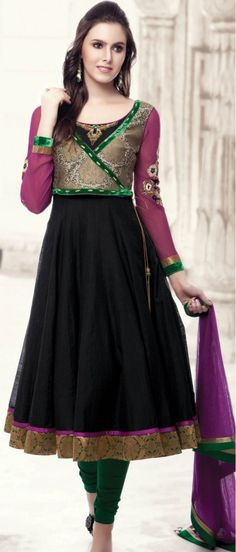 Gorgeous Black Churidar - along with pink and green, different color combination