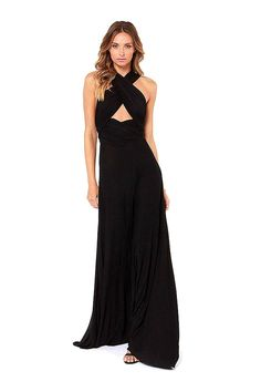Black Maxi Dress with Cross Straps Front - US$35.95 -YOINS