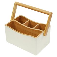 Bamboo utensil caddy with four storage compartments.Product: Utensil caddyConstruction Material: BambooCol...