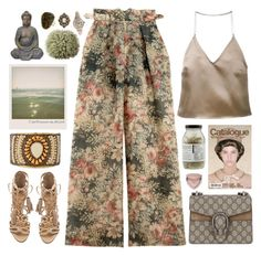 Floral Pants by doga1 on Polyvore featuring polyvore, fashion, style, Barbara Casasola, Zimmermann, Schutz, Gucci, NAKAMOL, Anne Sisteron, Dr. Jackson's, Too Faced Cosmetics, Pomax, Polaroid and clothing