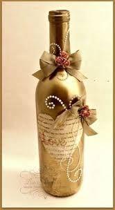 Resultado de imagen para how to fabric decoupage wine bottle