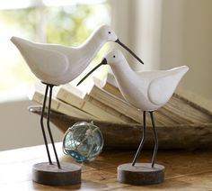 B Shore Bird Hand Carved Wood on Stand Beach and Home Decor
