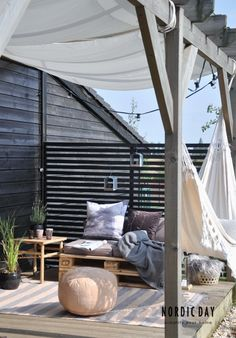 Beautiful pergola and terrace in Scandinavian style and such a hammock ., I would also like to have a beautiful pergola and terrace in Scandinavian style and such a hammock. Outdoor Rooms, Outdoor Gardens, Outdoor Living, Outdoor Decor, Outdoor Hammock, Outdoor Pallet, Outdoor Lounge, Boho Deco, Outside Living