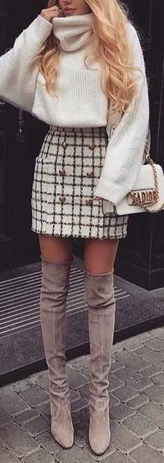 49 Simple and Classy Skirt Outfits for Winter During winter, there is a never en. - 49 Simple and Classy Skirt Outfits for Winter During winter, there is a never ending battle between - Winter Fashion Outfits, Fall Winter Outfits, Look Fashion, Spring Outfits, Winter Clothes, Womens Fashion, Autumn Fashion Classy, Winter Going Out Outfits, Classy Going Out Outfits