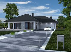 DOM.PL™ - Projekt domu DPS Indiana CE - DOM DPS1-38 - gotowy projekt domu Small House Plans, Pavement, Container Gardening, Planer, Outdoor Gardens, Indiana, Shed, Exterior, Outdoor Structures