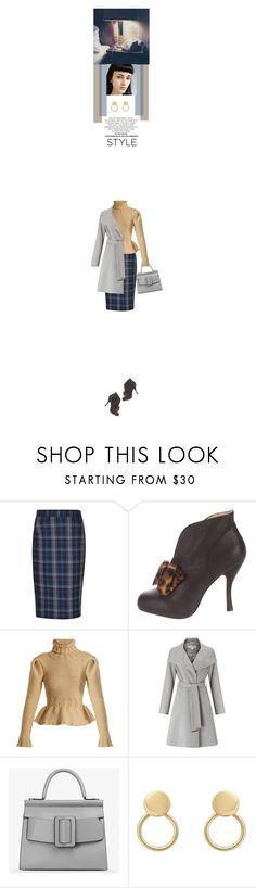 """plaid skirt with embellished booties"" by paperdollsq ❤ liked on Polyvore featuring Vivienne Westwood, Lemaire, Miss Selfridge, Boyy, booties, embellishedshoes and plaidskirts"
