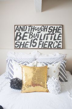 Though She be but Little she is FIERCE sign by TheHouseofBelonging Bedroom Decor My New Room, My Room, Girls Bedroom, Bedroom Decor, Bedrooms, Bedding Decor, Bedroom Ideas, Big Girl Rooms, Wooden Signs