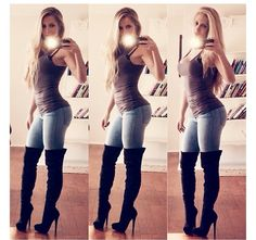 I love this look but I'm too short..could never pull off over the knee boots! Wahhh #shortgirlproblems