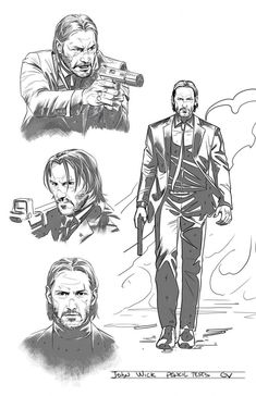 The new Total Film cover features Keanu Reeves' unstoppable former hitman in John Wick: Chapter Plus, a new comic series is coming in and we have the first concept art for you guys right here. Bd Comics, Cute Comics, Zentangle Drawings, Art Drawings, John Wick Movie, Keanu Reeves John Wick, Pencil Test, Arte Obscura, Drawing Poses