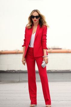 spring / summer - street style - casual outfits - summer outfits - business casual - work outfits - party outfits - white tee + red suit + silver clutch + black cat eye sunglasses