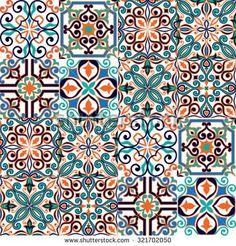 Seamless pattern on the tiles, majolica, arabic, green, orange, vector