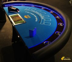 Blackjack table with LED lights for hire www.therealdealfuncasino.com.au