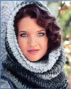 Sapka-sál egyben, kötésleírás – Kötni jó – kötés, horgolás leírások, minták, sémarajzok Loom Knitting Projects, Kerchief, Balaclava, Knit Patterns, Knit Crochet, Winter Hats, Style, Scarves, Fashion