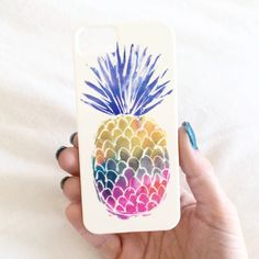 Hard plastic iPhone case with colorful watercolor style pineapple print! Please note: iPhone 6 & 6 Plus will take 2-4 weeks to arrive!