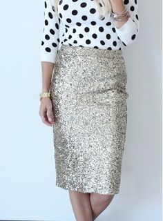 white and black polka dotted shirt and gold glitter pencil skirt