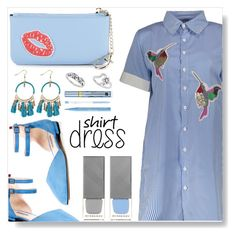 Shirt-Dress by simona-altobelli on Polyvore featuring polyvore fashion style SJP Fallon & Royce Estée Lauder Too Faced Cosmetics Burberry clothing StreetStyle monochrome Blue MyStyle shirtdress