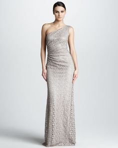 Dress for Mothers  (One-Shoulder Lace Gown by David Meister at Neiman Marcus)