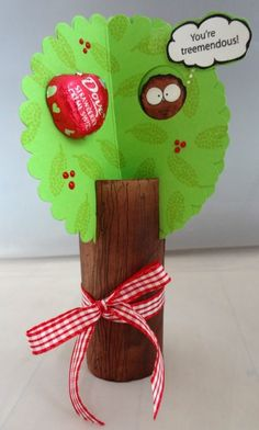 """Tree Valentine Use a cardboard tube to make a """"treemendous"""" valentine that's as cute as can be! This would make a fun Funfamilycrafts.com"""