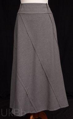 Per-Una-Long-Grey-Felt-Panel-Cut-A-Line-Maxi-Skirt-Size-14  £7.60 PAID