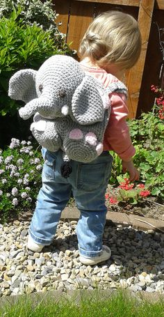 Elephant Kid's Backpack Bag or Pyjama Case Crochet PATTERN
