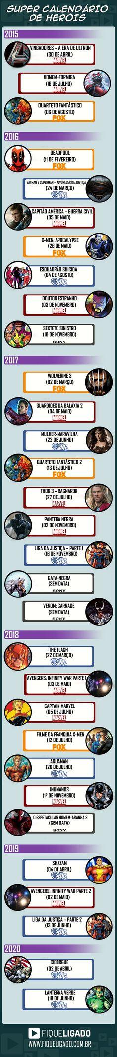 Saiba lista completa de filmes dos Heróis Marvel/DC até 2020! - Actions & Comics
