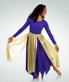 576BW Metallic Long Panel Praise Dance Skirt $17.25