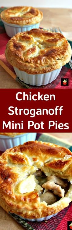 Mini Chicken Stroganoff Pot Pies with a to die for flaky buttery pie crust. Serv… Mini Chicken Stroganoff Pot Pies with a to die for flaky buttery pie crust. Serve piping hot from the oven! Turkey Recipes, Pie Recipes, Great Recipes, Chicken Recipes, Cooking Recipes, Favorite Recipes, Popular Recipes, Recipies, Mini Pot Pies