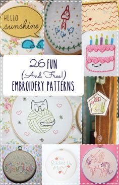 26 Fun and Free Embroidery Patterns. Plus a link to some tutorials on basic embroidery stitches! Embroidery Hoop Art, Embroidery Stitches, Machine Embroidery, Embroidery Designs, Hand Embroidery Patterns Free, Floral Embroidery, Sewing Crafts, Sewing Projects, Diy Crafts