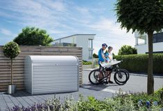 A superb and elegant solution to storing your bike, motorbike or electric scooter or storage for other outdoor items all year round. The Storemax is an amazing Storage box that is highly configurable, designed for quick access and exceptionally secure. #GardenFurniture #GardenStorage #BikeStorage Cycle Storage, Bike Storage, Paper Storage, Shed Storage, Outdoor Storage, Storage Spaces, Bicycle Garage, Bike Shed, Roller Shutters