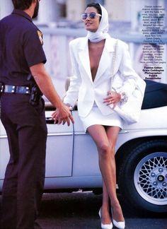 "Editorial : ""Dress whites"" Magazine : Vogue US, May 1990 Photographer : Patrick Demarchelier Model : Yasmeen Ghauri 80s Fashion, Look Fashion, Runway Fashion, High Fashion, Fashion Outfits, Fashion Vintage, Vintage Fashion Photography, Fashion Skirts, Paris Fashion"