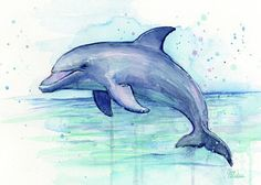 Dolphin Watercolor Poster by Olga Shvartsur
